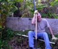 The reluctant gardener resting on his shovel